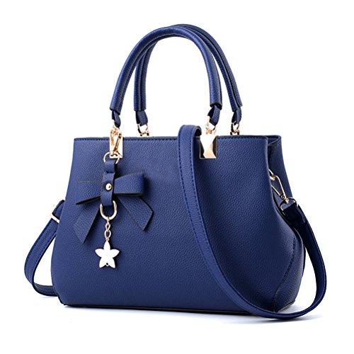URAQT Damen Handtaschen Schulterbeutel, Frauen Stilvolle PU Designer Schultertasche Taschen Umhängetasche - Blau, Geschenk Zum Muttertag