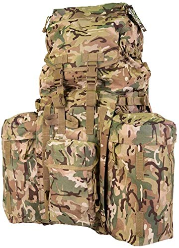 tgbnh Backpack,British Army Style Full Size Combat Rucksack 120L BTP All Terrain Camo + Pockets + Yoke (Color : Default)