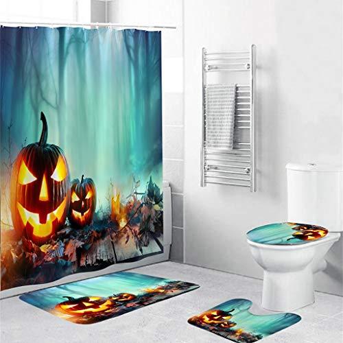 Lemoning Bathroom Organizers and Storage, Halloween Festival 4Pcs Non Slip Toilet Polyester Cover Mat Set Bathroom Curtain