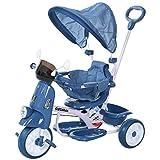 HOMCOM Tricycle Enfants évolutif Canne, Pare-Soleil Pliable Amovible Effets Lumineux sonores métal Blanc PP Bleu