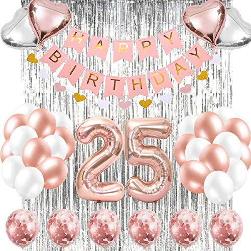 25st Rose Gold Birthday Decorations,Pink Happy Birthday Banner,Silver Foil Fringe Curtains,25th Rose Number Balloons Confetti Balloons for 25th Birthday Decorations