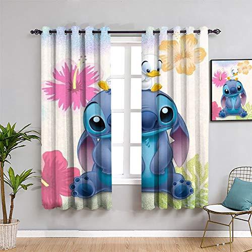 Lilo Stitch Anime Stitch Cortinas para sala de estar, impermeable, cortina para ventana para dormitorio (55 x 45 pulgadas)