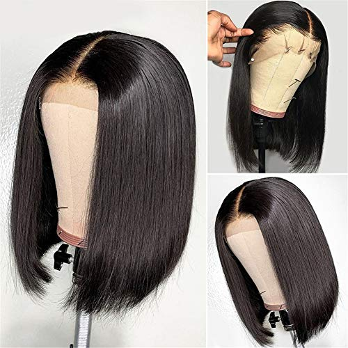 West Kiss Hair Straight Short Bob Wigs Human Hair 13x4 Frontal Bob Wigs Pre Plucked With Baby Hair For Black Women (10 inch, Natural color)