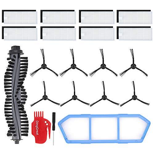 DingGreat Ersatzteile Bürsten Filter Zubehör Set für ILIFE A4s Saugroboter Zubehörset Packung mit 1 Rollbürste, 8 Filters, 8 Seitenbürsten, 1 Primärfilter