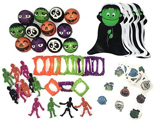 Halloween Party Favors- Vampire Teeth, Tattoos, Skeletons, Stress Balls, Treat Bags (12 pack)