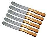 Schwertkrone Brötchenmesser Holzgriff 6er Set Buckelsmesser Buttermesser Olivenholz/Premiumqualität Solingen