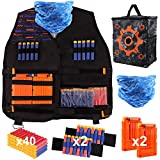 Satkago niños chaleco táctico, kids chaleco con bolsa de almacenamiento de target, dardos de espuma de 40 piezas y accesorios en general compatibles con las series elite y n-strick