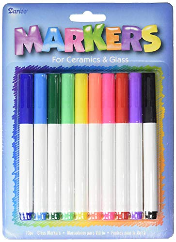 Darice Ceramic and Glass Markers (10pc)  Great for Crafts, Parties and Art Projects  Color and Write on Glass and Ceramics  Assorted Bright Rainbow Colors  Medium Tip, Smooth Writing