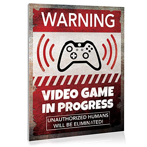 """Video Game Room Sign Wall Decor, 9"""" x 12"""", Gaming Room, Retro Video Game Sign, Danger Sign Funny Gag Gift, Decorative Signs for kids room, Corrugated Plastic, Warning Alert Video Gaming in Progress"""