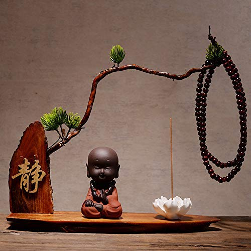 ZGQA-GQA Adornos Estatuas Creativo Porche Chino, Estante Antiguo, Adornos De Arena Púrpura, Zen, Pequeño Monje, Decoración Del Hogar Cerámica, Dharma Crafts