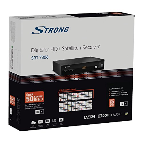 STRONG SRT 7806 HD Satelliten Receiver für HD Plus inkl. HD+ Karte DVB-S2 Full HD (HDTV, HDMI, LAN, SCART, USB) schwarz