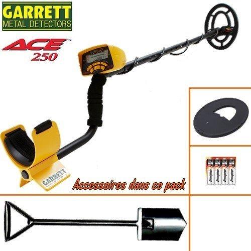 Garrett - Detecteur De Metaux Ace 250 Livre Avec Son Protege Disque + Pelle Big Foot