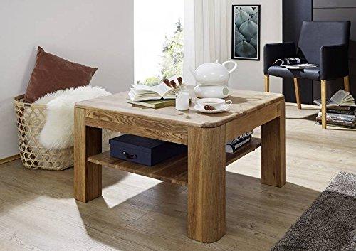 Table basse carrée 80x80cm - Bois massif de Chêne sauvage huilé (Bois naturel) - LINZ #108