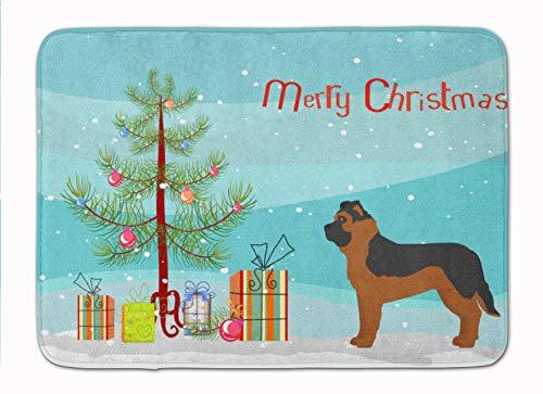 Caroline's Treasures Felpudos de Pastor alemán Negro Mezcla de árbol de Navidad Lavable a máquina con Espuma viscoelástica, Multicolor