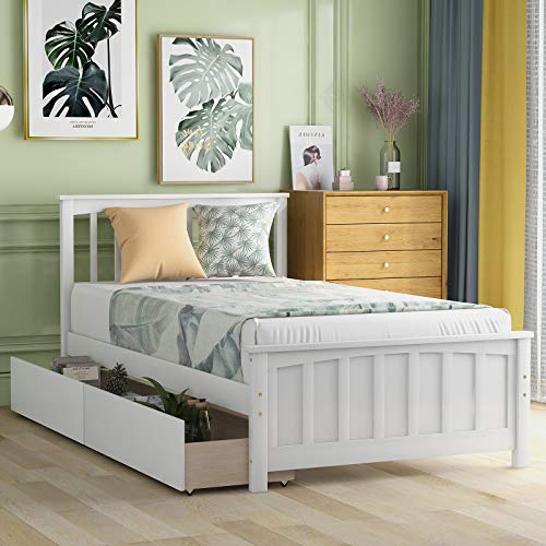 Twin Bed Frame with Drawers, Kids Platform Twin Bed with Storage, Solid Wood, No Box Spring Needed