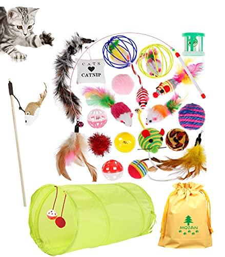 MQIAN Actualizado 23PCS Juguetes para Paquete de Variedad para Gatitos, Juguetes de Hierba gatera, Set di Juguetes para Gatos Interactivo Ratón,Juguetes para Gatos con Plumas túnel