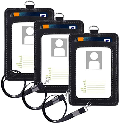3 Pack ID Badge Holder with Neck Lanyard, Vetoo PU Leather ID Card Holder Wallet Case with 2 Card Slots & Black Neck Strap