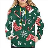 Sudadera con Capucha para Mujer Patrón Transparente de Vector con Calcetines de Navidad Rojos y Blancos, Sudadera L