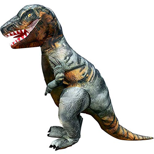 Halloween Inflatable Dinosaur Costume T-Rex Dinosaur Cosplay Party Blow Up Suit Fancy Dress for Adult Grey