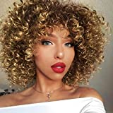 AISI QUEENS Afro Wigs For Black Women Short Kinky Curly Full Wigs Brown Mixed...