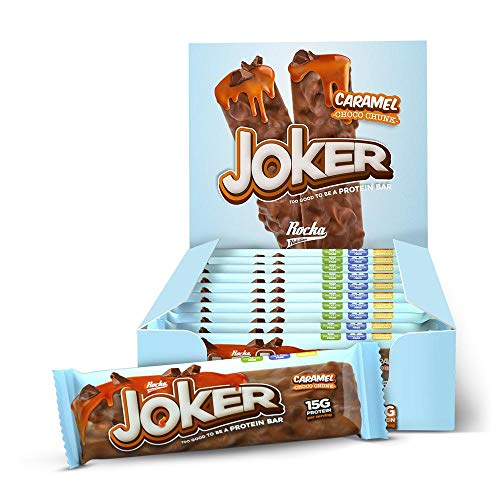 Rocka Nutrition Eiweißsriegel Joker – natürlicher high protein Snack– Proteinriegel mit Schokolade Karamellgeschmack (Caramel Choco Chunk)