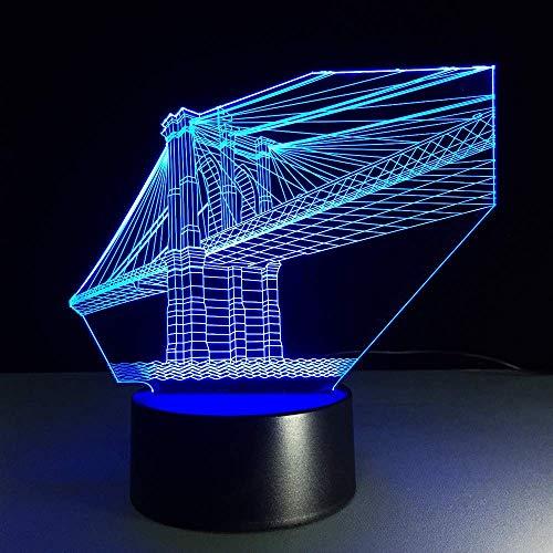 Nachtlichter 3D LED Brooklyn Bridge Licht Licht Farbwechsel Gebäude Vision Tischlampe Modern Art Decor USB Sleeping Lightin G Geschenk