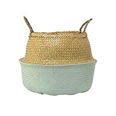 Bloomingville A90901758 Large Beige & Mint Green Collapsible Seagrass Basket with Handles