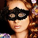Kariwell Clearance Sexy Women Black Lace Eye Face Mask Rhinestone Sequins Masquerade Party Ball Prom Costume Charms Mask (Black)