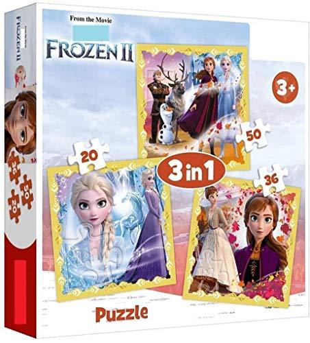Elsa Puzzle ab 4 Jahre   kompatibel Kinderpuzzle   3 Puzzle Eiskönigin 20/36/50 Teile Box   Geschenkidee für Mädchen Kinder zu Geburtstag Weihnachten Nikolaus Mitbringsel