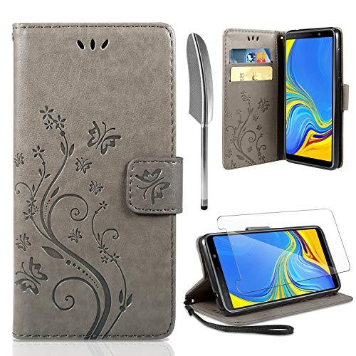 AROYI Lederhülle Samsung Galaxy A50 Flip Hülle + panzerglas, Samsung Galaxy A50 Wallet Hülle Handyhülle PU Leder Tasche Hülle Skin Ständer Schutzhülle für Samsung Galaxy A50 grau