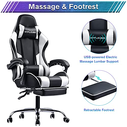 GTPLAYER Gaming Chair,Computer Chair with Footrest and Lumbar Support, Height Adjustable Gaming Chair with 360°-Swivel Seat and Headrest for Office or Gaming (White)