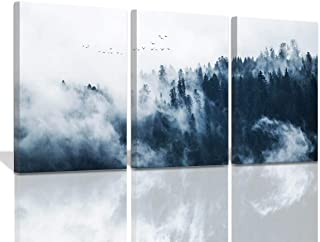 Wall Art for Bedroom Indigo Misty Forests Modern 3 Pieces Canvas Wall Art Mountain Forest in Fog Navy Blue Wall Decoration...