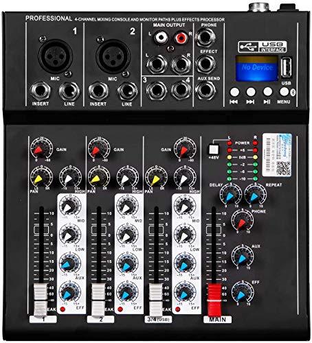 Depusheng HT4 professionnel 4 Canaux USB Jack Mixeur Audio Portable Bluetooth Live Studio Audio Console de mixage sonore DJ