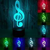 RUMOCOVO Música Nota LED 3D Luces De Noche Acrílico 7 Colorido Musical...