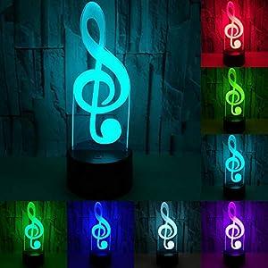 RUMOCOVO® Música Nota LED 3D Luces De Noche Acrílico 7 Colorido Musical Atmósfera Lámpara Regalo Decoración Del Hogar Para Niños