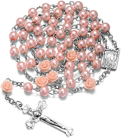 Pearl Beads Rosary Catholic Necklace Holy Soil Medal Cross Crucifix