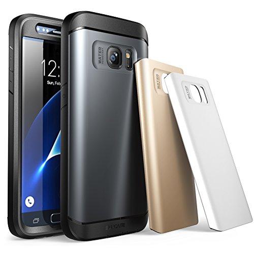 SUPCASE Samsung Galaxy S7 Hülle Wasserresistent Handyhülle Ganzkörper Robustes Gehäuse Schutzhülle mit integriertem Bildschirmschutz / Zubehör + 3 Austauschbare Abdeckungen (Space Grau / Silber / Gold)