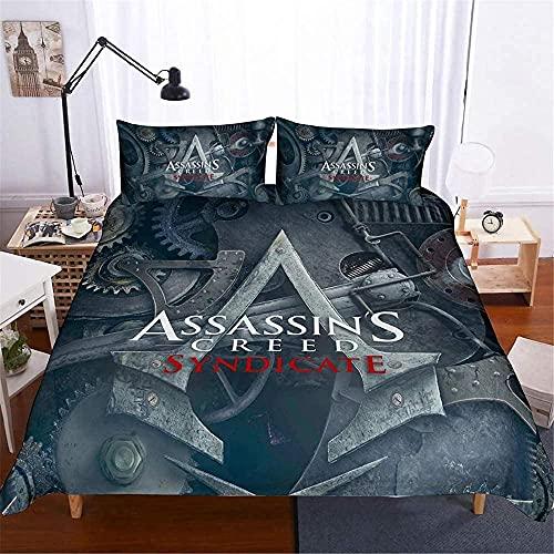 Qianning Assassin's Creed - Juego de funda de edredón de microfibra de 3 piezas, funda de edredón con cremallera y funda de almohada (A6 individual de 135 x 200 cm, 50 x 75 x 2)