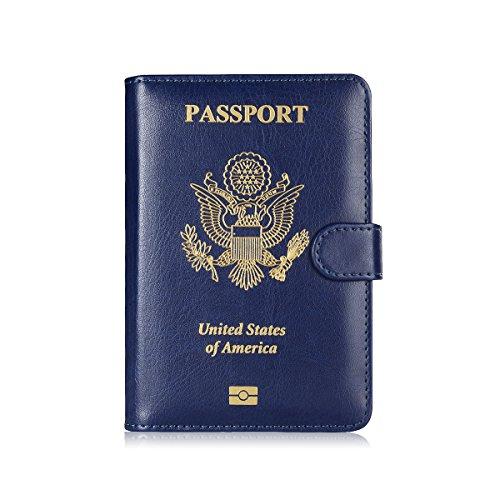Maxjoy Leather Passport Holder, Passport Book Cover, Passport Wallet for Men/Womem, RFID Blocking Travel Passport Wallet Card Organizer passport case, Blue