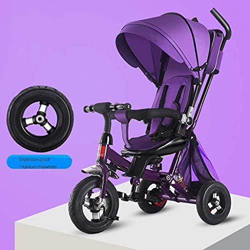 LOXZJYG Triciclo para niños Cochecito de bebé Trolley Baby Trolley Cochecito de Jogger Ligero, Mango de Empuje Ajustable extraíble Adecuado para niños o niñas (Color : Púrpura)