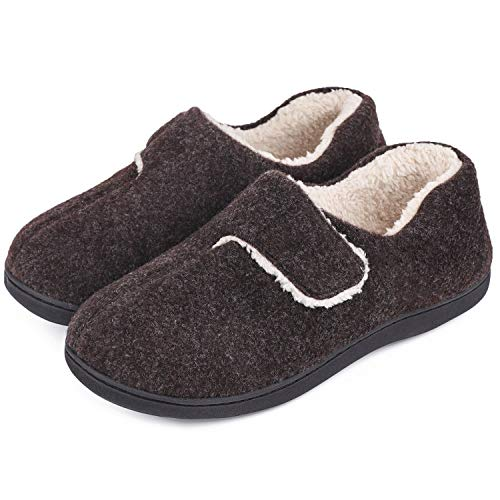 VeraCosy Damen Herren Fuzzy Wool-Like Memory Foam Slippers Geschlossene Fleece-Hausschuhe mit verstellbarem Klettverschluss, Kaffee, 44/45 EU