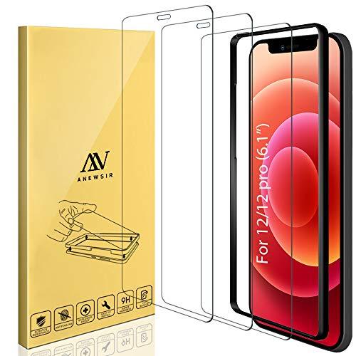 ANEWSIR 3 Stuck Panzerglas Schutzfolie Displayschutzfolie Kompatibel mit iPhone 1212 Pro 61 Zoll mit Installationswerkzeug