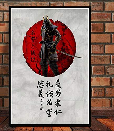 QIANLIYAN Art Poster Japanese Bushido Samurai Kanji Anime Carteles e Impresiones Cuadro de la Pared Pintura de la Lona para la decoración del hogar Arte 40X60Cm Sin Marco