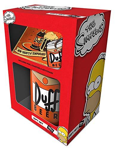 Simpsons The Geschenkset Duff Tasse, Untersetzer, Anhänger - aus Keramik, Füllmenge: ca. 320 ml, inkl. Untersetzer & Schlüsselanhänger.