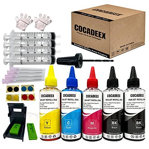 Cocadeex - Kit di ricarica per inchiostro compatibile con cartucce d'inchiostro Hp 650xl 351XL 350XL 300XL 901XL 62XL 21XL 22XL, 5 bottiglie di inchiostro con strumenti di ricarica (2BK 1C 1M 1Y )