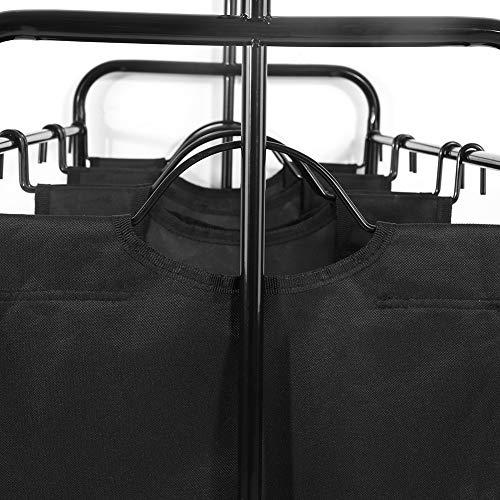 Barra para ropa Perchero para ropa, clasificador de ropa con 3 compartimentos clasificadores y 4 ruedas, 2 con cerradura, carro para ropa Fácil de montar [negro], perchero con cesto para ropa Klei