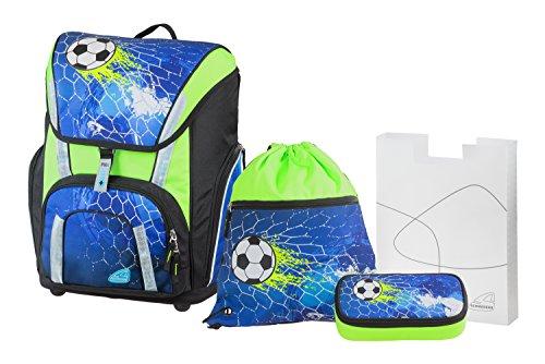 Schneiders Vienna Schulranzen Set Smart, Soccer Champ, 4 teilig, inklusive Federbox, Sportbeutel und Heftebox, 41 cm, Blau