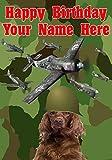 Tarjeta de felicitación de cumpleaños con diseño de perro setter irlandés J232 de los aviones del ejército militar, tamaño A5, personalizable