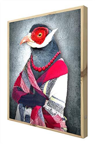 CCRETROILUMINADOS Estilo Animals Hipster Pisco Cuadro con Marco Madera Iluminado con Luz Leds, Metacrilato, Multicolor, 80 x 60
