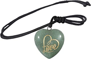 Yatming Reiki Healing Love Heart Stone Necklaces for Women and Men, Carved Crystal Pendant Lover Couple Amulet Jewelry wit...